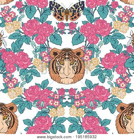 Seamless pattern, background with vintage style flowers and tiger and butterflies in pink and green colors. Stock line vector illustration.