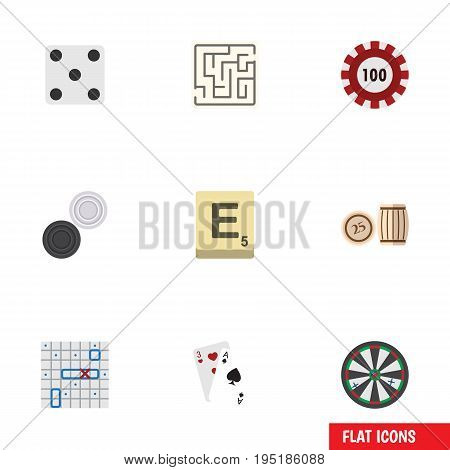 Flat Icon Games Set Of Backgammon, Sea Fight, Labyrinth And Other Vector Objects. Also Includes Arrow, Darts, Casino Elements.