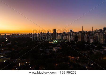 Dusk Sky in Sao Paulo City, Brazil