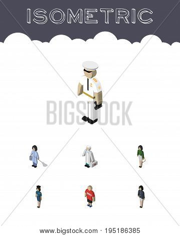 Isometric People Set Of Policewoman, Seaman, Housemaid And Other Vector Objects. Also Includes Medic, Doctor, Girl Elements.