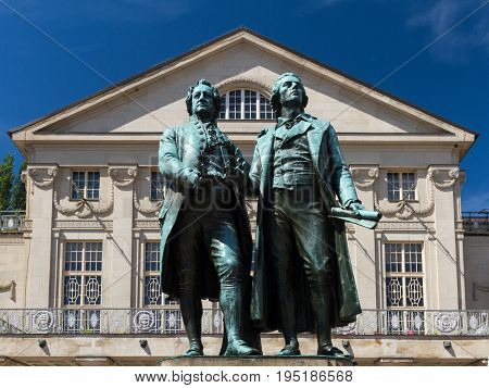 Goethe Schiller monument in front of the court theater Weimar Thuringia Germany