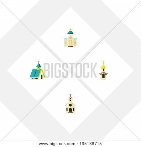 Flat Icon Church Set Of Building, Religious, Structure And Other Vector Objects. Also Includes Church, Building, Religious Elements.