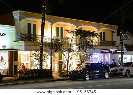 FORT LAUDERDALE, FL, USA - DEC. 18, 2012: Las Olas Boulevard at night, Fort Lauderdale, Florida, USA.