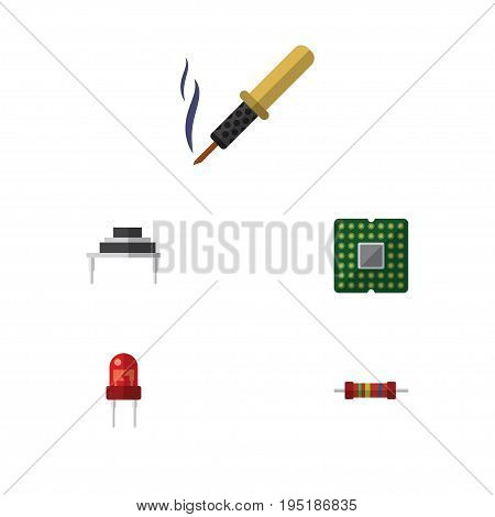 Flat Icon Appliance Set Of Resistance, Unit, Repair And Other Vector Objects. Also Includes Iron, Electronics, Transistor Elements.