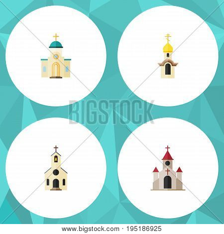 Flat Icon Church Set Of Structure, Traditional, Building And Other Vector Objects. Also Includes Christian, Structure, Traditional Elements.