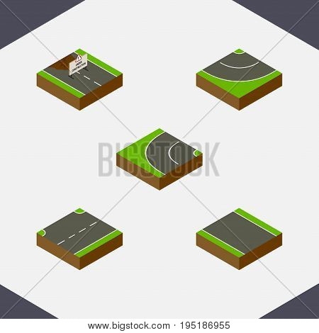 Isometric Way Set Of Road, Without Strip, Upwards And Other Vector Objects. Also Includes Up, Strip, Under Elements.