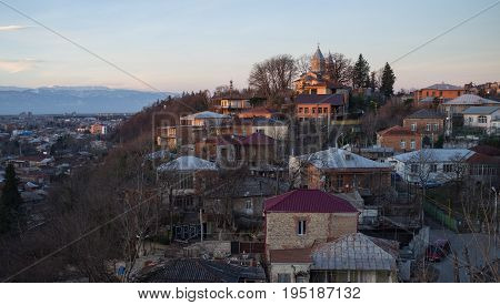 The residential quarters of Kutaisi at dawn.