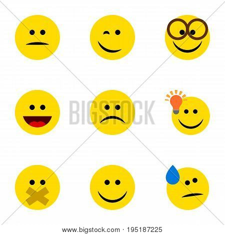 Flat Icon Expression Set Of Winking, Hush, Have An Good Opinion And Other Vector Objects. Also Includes Eyeglasses, Light, Tears Elements.