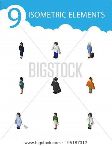 Isometric Person Set Of Pedagogue, Detective, Housemaid And Other Vector Objects. Also Includes Man, Businesswoman, Boy Elements.