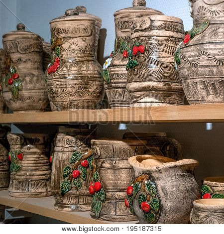 Ruskeala, Sortavala, Republic of Karelia, Russia - June 12, 2017: Marble quarry in Ruskeala Park. Ruskeala - tourist center. Products of national crafts, souvenirs.