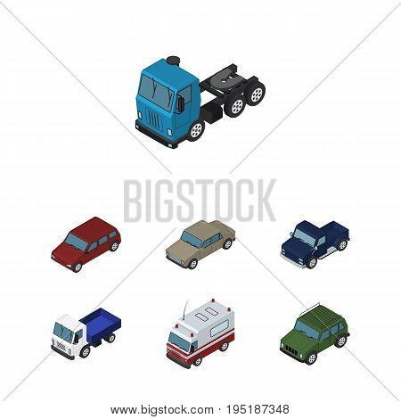 Isometric Automobile Set Of Car, Truck, Auto And Other Vector Objects. Also Includes Pickup, Transport, Lorry Elements.
