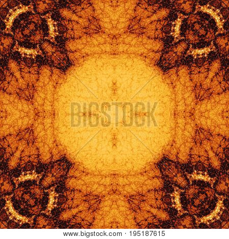 Brigh orange brown soft ornate symmetry tile design