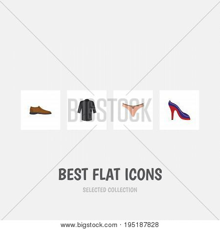 Flat Icon Dress Set Of Male Footware, Uniform, Heeled Shoe And Other Vector Objects. Also Includes Kimono, Heeled, Shoe Elements.