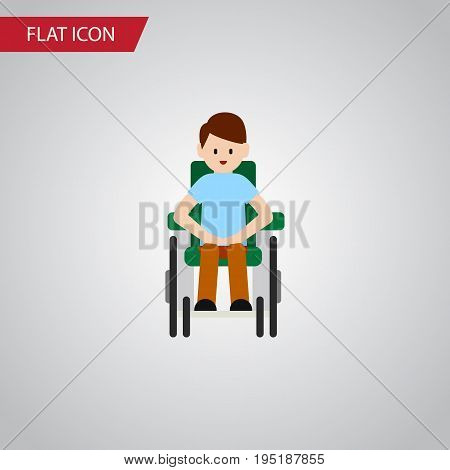 Isolated Accessible Flat Icon. Disabled Person Vector Element Can Be Used For Handicapped, Man, Disabled Design Concept.