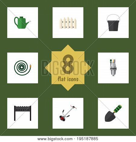 Flat Icon Farm Set Of Pail, Barbecue, Bailer And Other Vector Objects. Also Includes Equipment, Garden, Hose Elements.