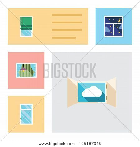 Flat Icon Frame Set Of Clean, Frame, Curtain And Other Vector Objects. Also Includes Clean, Window, Night Elements.