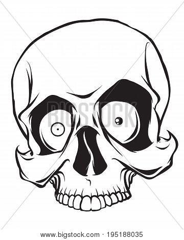 Crazy cartoon skull isolated on white background