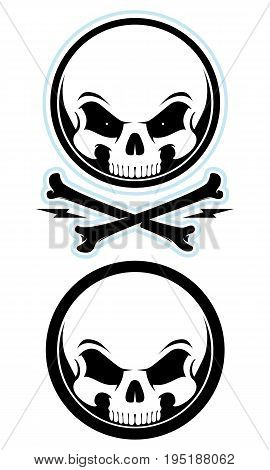Cartoon skull mascot with crossbones. Evil eyes