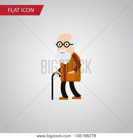 Isolated Old Man Flat Icon. Ancestor Vector Element Can Be Used For Old, Man, Ancestor Design Concept.