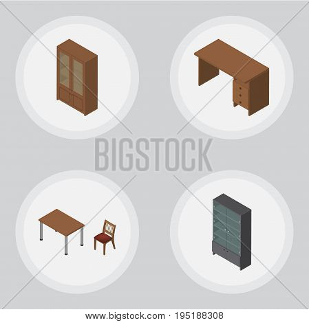 Isometric Furnishing Set Of Table, Chair, Cabinet And Other Vector Objects. Also Includes Table, Locker, Cabinet Elements.