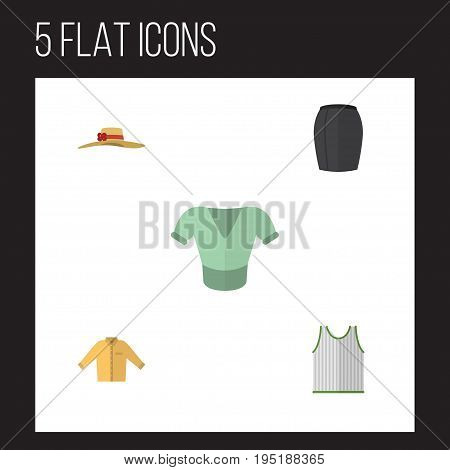 Flat Icon Garment Set Of Stylish Apparel, Banyan, Elegant Headgear And Other Vector Objects. Also Includes Banyan, Sleeveless, Man Elements.