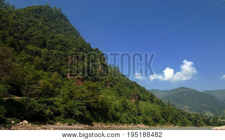 View of mountains in Nepal in the nice weather
