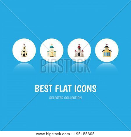 Flat Icon Church Set Of Religious, Catholic, Traditional And Other Vector Objects. Also Includes Architecture, Building, Religious Elements.