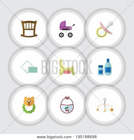Flat Icon Kid Set Of Pinafore, Mobile, Stroller And Other Vector Objects. Also Includes Bear, Stroller, Infant Elements.