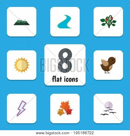 Flat Icon Natural Set Of Peak, Gull, Canadian And Other Vector Objects. Also Includes Peak, Lightning, Strawberry Elements.