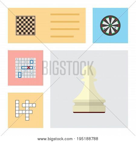 Flat Icon Games Set Of Pawn, Guess, Chess Table And Other Vector Objects. Also Includes Ship, Puzzle, Darts Elements.
