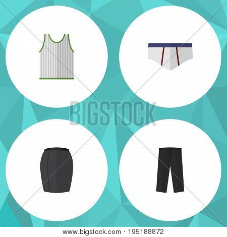 Flat Icon Garment Set Of Stylish Apparel, Pants, Underclothes And Other Vector Objects. Also Includes Leggings, Singlet, Briefs Elements.