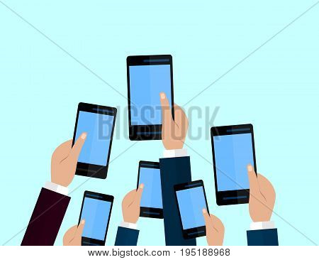 Set of smartphones. Journalism concept Mass Media TV Interview Breaking News press conference concept. smartphones. in reporter hands. Vector Flat design.