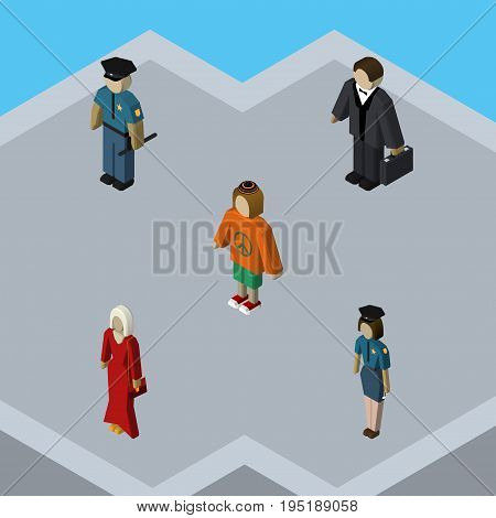 Isometric Human Set Of Officer, Lady, Policewoman And Other Vector Objects. Also Includes Hippie, Police, Policewoman Elements.