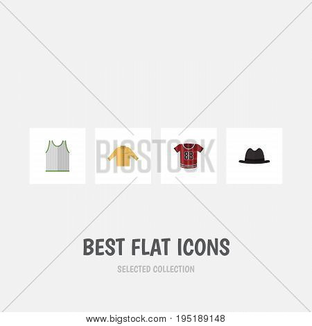Flat Icon Dress Set Of Panama, Singlet, T-Shirt And Other Vector Objects. Also Includes Singlet, Sleeveless, Panama Elements.