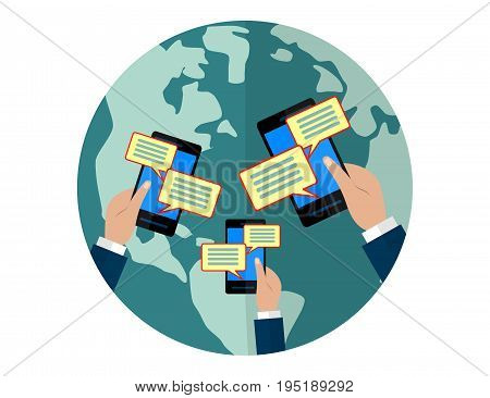 Chat message notifications concept. Hands holding with text bubbles. Flat illustration.
