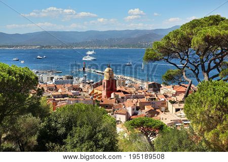 Aerial view of St Tropez city and harbor