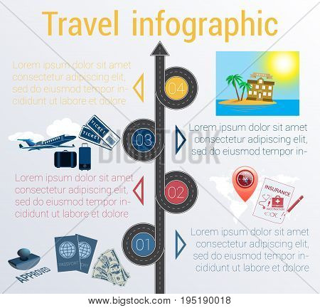 Tourism and travel concept infographic. Template 4 positions. Motorway passports visa stamp card point syringe medical set dollarssuitcase tickets jet hotel island palm sea sun sky