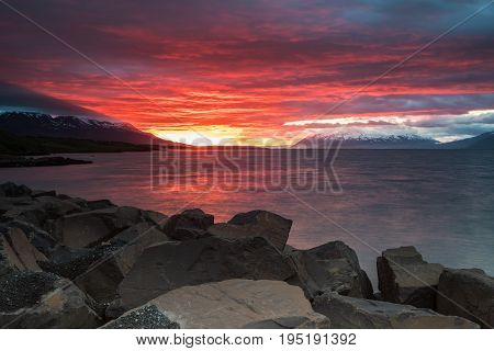 Sunset In Akureyri, Iceland