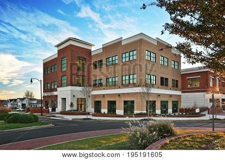 Generic Brick Office Apartment business building in South Carolina during day