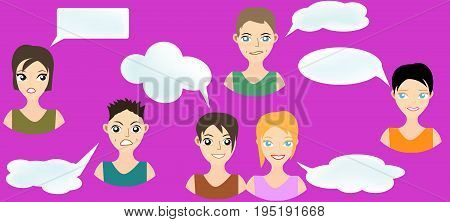 Set of expression of boys and girls with think balloon in vector