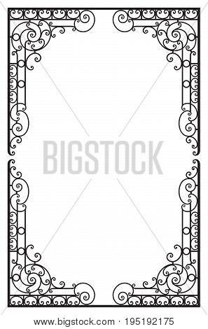 Vintage decorative frame in renaissance style on white