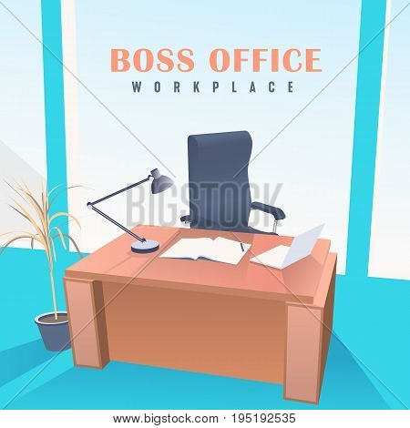 Boss Office, Chair and Desk. Workplace with notebook and laptop.