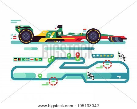 Sport car on track. Speed sport car race, fast championship, motor track competition, vector illustration