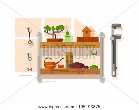 Shelf interior with object. Furniture decoration and ceramic vase. Vector illustration