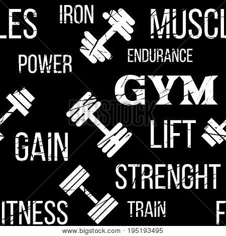 Typographic vector fitness gym seamless pattern or background. Fitness design elements, gym label dumbbell. grunge