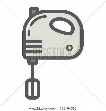 Hand mixer colorful line icon, household and appliance, vector graphics, a filled pattern on a white background, eps 10.