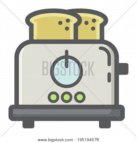 Toaster colorful line icon, kitchen and appliance, vector graphics, a filled pattern on a white background, eps 10.