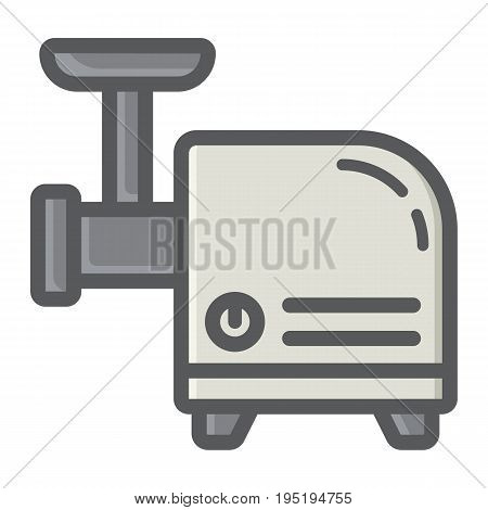 Meat Grinder colorful line icon, household and appliance, vector graphics, a filled pattern on a white background, eps 10.