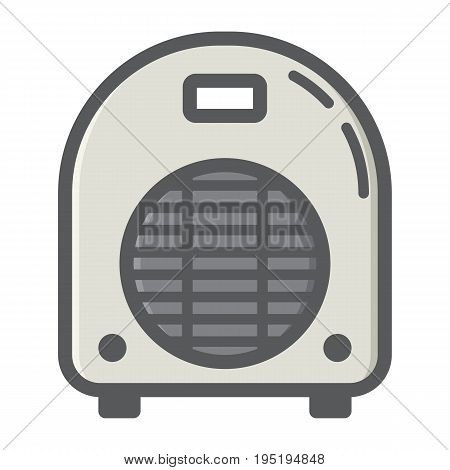 Electric fan heater colorful line icon, household and appliance, vector graphics, a filled pattern on a white background, eps 10.
