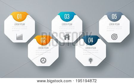Infographic with octagons on the grey background. Stock vector